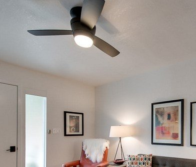 Harbor breeze mazon 44 inch brushed nickel flush mount ceiling fan aloadofball Images