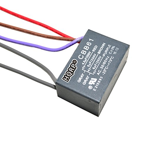 HQRP Capacitor for Harbor Breeze Ceiling Fan 4.5uf+5uf+6uf 5-Wire plus HQRP Coaster